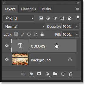Selecting the Type layer in the Layers panel