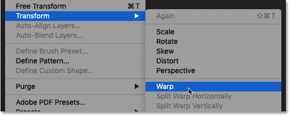 How to select the Warp command in Photoshop