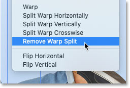 How to remove a warp grid split in Photoshop CC 2020