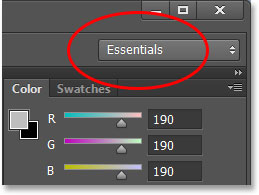 The workspace selection box in Photoshop CS6.