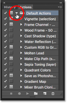 The default actions in the Actions panel in Photoshop. Image © 2016 Photoshop Essentials.com