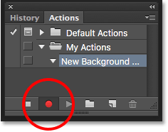 Clicking the Record button. Image © 2016 Photoshop Essentials.com