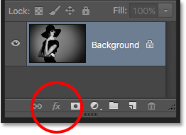 The Layer Styles icon is currently unavailable. Image © 2016 Photoshop Essentials.com