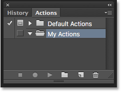 The Actions panel showing the new set. Image © 2016 Photoshop Essentials.com