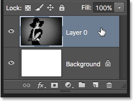 Selecting the photo's layer. Image © 2016 Photoshop Essentials.com