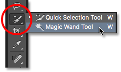 where is the magic wand tool in photoshop