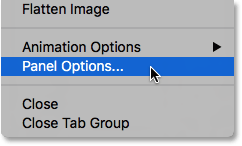 Choosing Panel Options from the Layers panel menu.