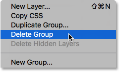 Choosing Delete Group from the Layers panel menu. Image © 2016 Photoshop Essentials.com