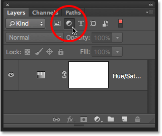 Filtering the Layers panel to show only the adjustment layers. Image © 2016 Photoshop Essentials.com