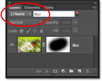 The Name option lets us quickly find a layer by searching for its name. Image © 2016 Photoshop Essentials.com