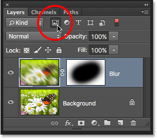 Filtering the Layers panel to show only the pixel layers. Image © 2016 Photoshop Essentials.com