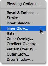 The Layer Styles menu in Photoshop.