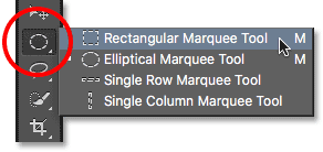 Selecting the Rectangular Marquee Tool from the Tools panel.