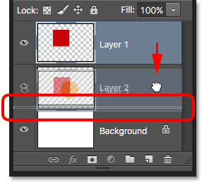 Layer 1 has been moved above Layer 2. Image © 2016 Photoshop Essentials.com