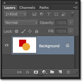 The Background layer in the Layers panel in Photoshop. Image © 2016 Photoshop Essentials.com