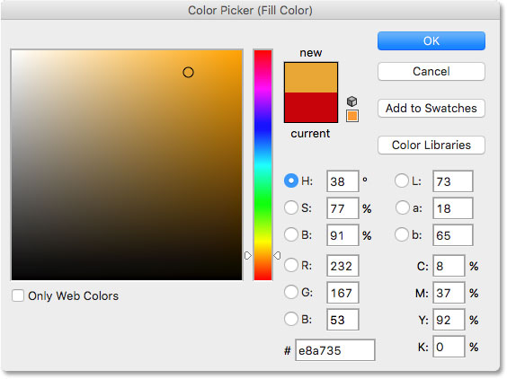 Choosing green from the Color Picker in Photoshop. Image © 2016 Photoshop Essentials.com