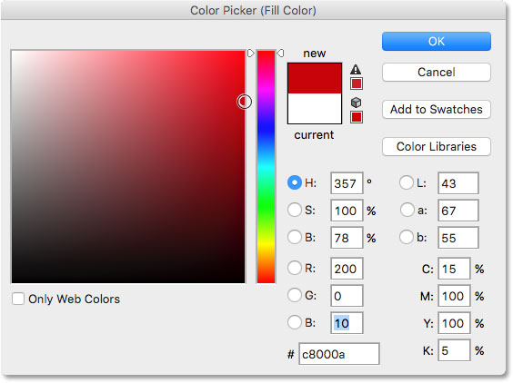 Choosing a color from the Color Picker in Photoshop. Image © 2016 Photoshop Essentials.com