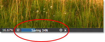 The save progress bar in the document window in Photoshop CS6.