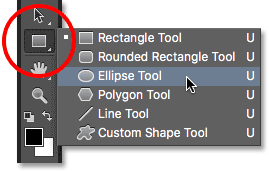 Selecting the Ellipse Tool in Photoshop.