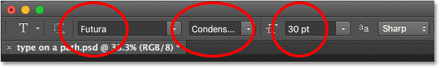 Photoshop font options in the Options Bar.
