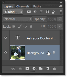 Selecting the Background layer in Photoshop.