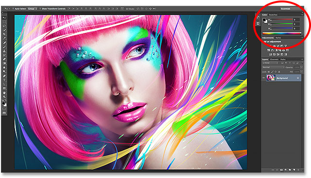 The Color panel in Photoshop CC 2014.