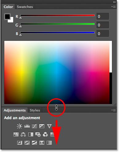 Dragging downward to make the Color panel longer.