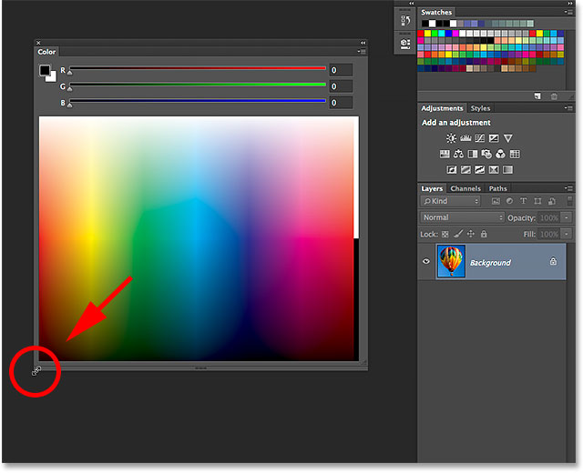 Resizing the Color panel in Photoshop CC 2014.