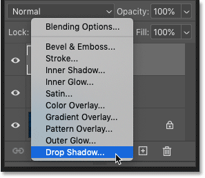 Adding a Drop Shadow layer effect in Photoshop