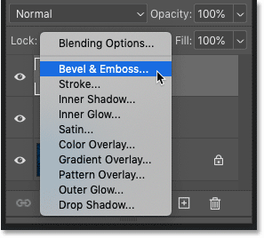 Adding a layer effect from the 'fx' menu in Photoshop's Layers panel