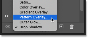Adding a Pattern Overlay layer effect in Photoshop