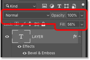 The layer's blend mode, opacity and fill values can be part of a layer style in Photoshop