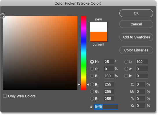 Choosing white from Photoshop's Color Picker