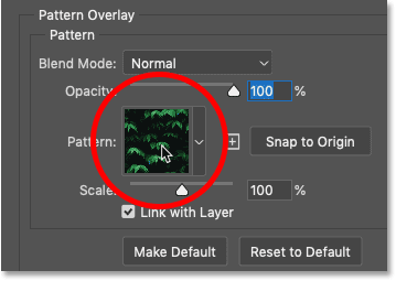 Clicking the pattern swatch in the Pattern Overlay settings in Photoshop