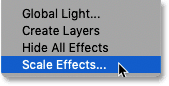 Choosing the Scale Effects command from the Layer Effects menu in Photoshop