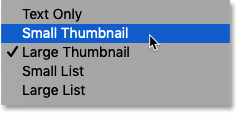 Choosing Small Thumbnails in the Styles panel in Photoshop CC 2020
