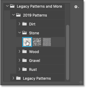 Selecting one of the new patterns in Photoshop CC 2020
