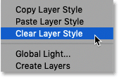 How to clear a layer style in Photoshop