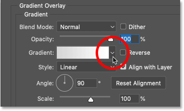 Clicking the arrow next to the gradient swatch in Photoshop's Gradient Overlay settings