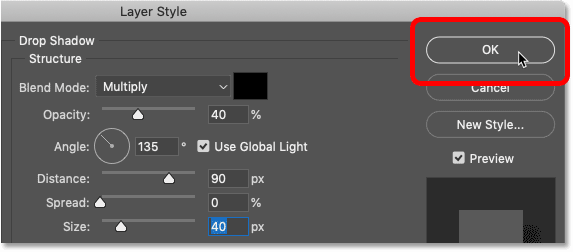 Clicking OK to close Photoshop's Layer Style dialog box