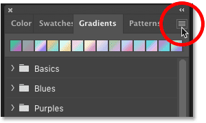 Clicking the Gradients panel menu icon in Photoshop CC 2020