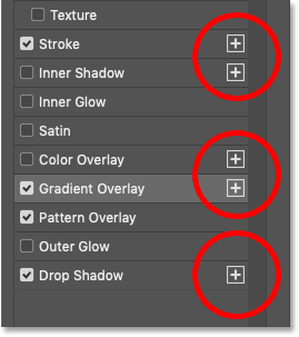 The Layer Style panel showing plus signs beside some layer effects