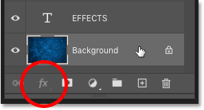 Layer effects are not availabel when Photoshop's Background layer is selected.