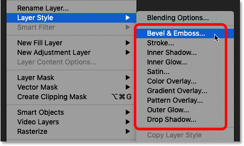 Adding a layer effect in Photoshop from the Layer menu.