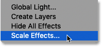 Choosing the Scale Effects command from the Layer menu in Photoshop