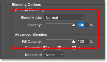 The Blend Mode, Opacity and Fill Opacity settings in the Blending Options in Photoshop's Layer Style dialog box