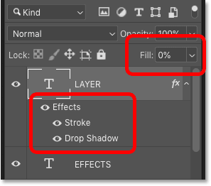 Photoshop's Layers panel showing the two layer effects plus the Fill value