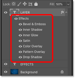 The list of layer effects that make up the preset layer style in Photoshop