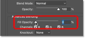 Lowering the Fill Opacity to 0 percent in Photoshop's Blending Options