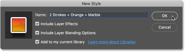 Saving the layer effects and blending options as a new layer style preset in Photoshop CC 2020